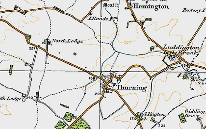 Old map of Thurning Lodge in 1920