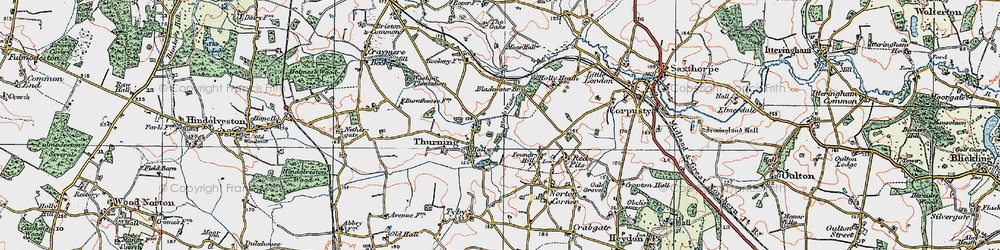 Old map of Thurning in 1921