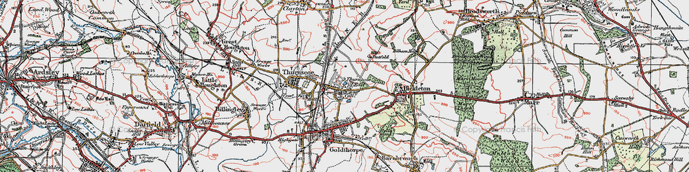 Old map of Thurnscoe East in 1924