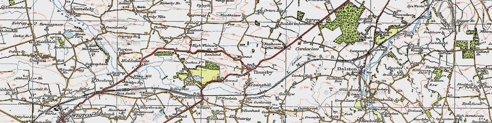 Old map of Thursby in 1925