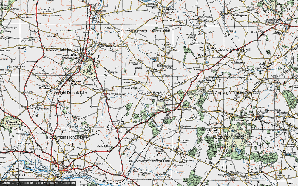 Old Map of Thursford Green, 1921 in 1921