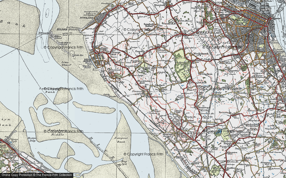 Old Map of Historic Map covering Thurstaston Common in 1924