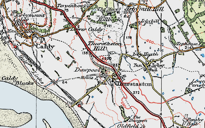 Old map of Thurstaston Hill in 1924