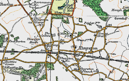 Old map of Thurston in 1921
