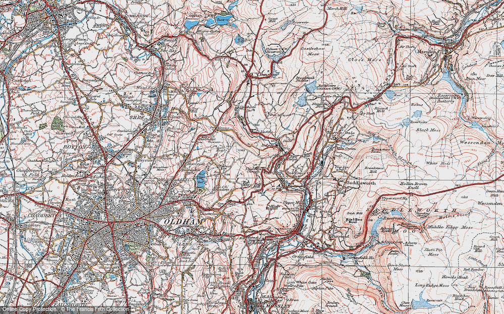 Old Map of Thurston Clough, 1924 in 1924
