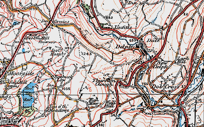 Old map of Thurston Clough in 1924