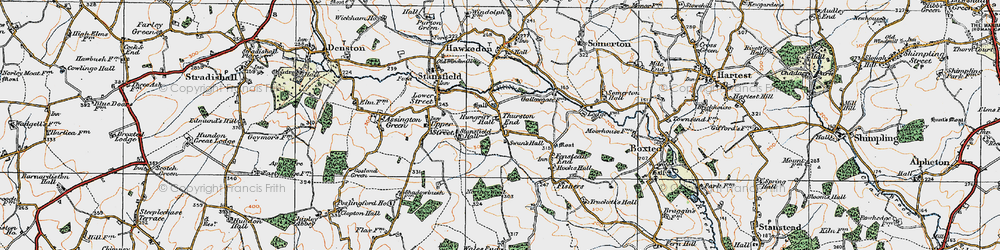 Old map of Thurston End in 1921