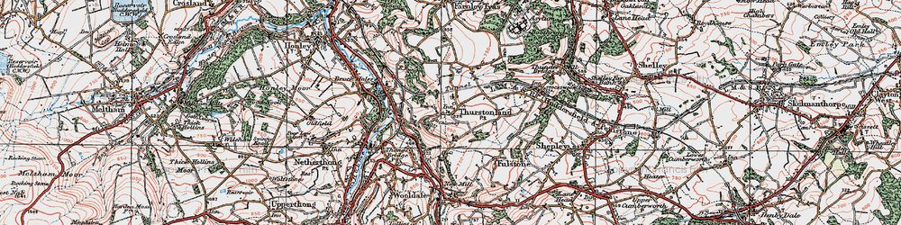 Old map of Thurstonland in 1924