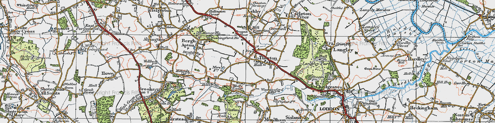 Old map of Thurton in 1922