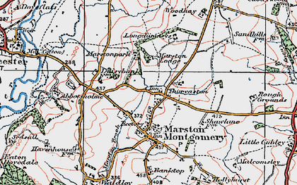 Old map of Thurvaston in 1921