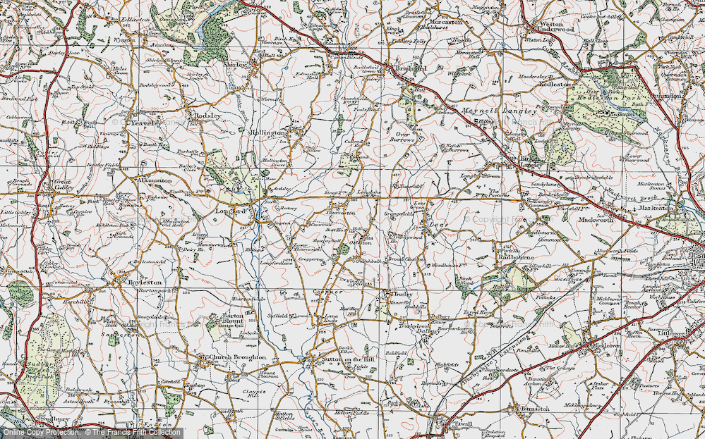 Old Map of Thurvaston, 1921 in 1921