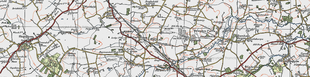 Old map of Thuxton in 1921