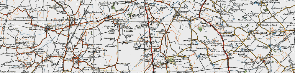 Old map of Thwaite in 1921