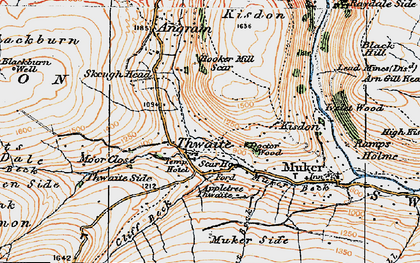 Old map of Thwaite in 1925