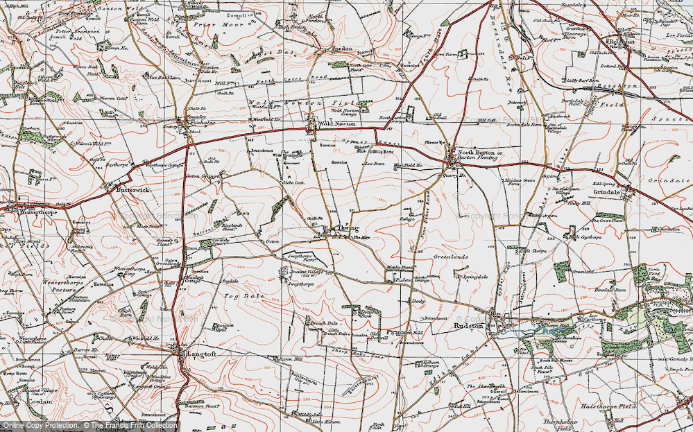 Old Map of Thwing, 1924 in 1924