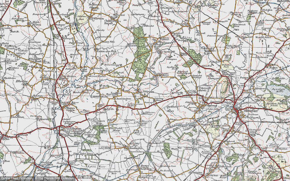 Old Map of Tibberton, 1921 in 1921