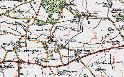 Old map of Tibberton Manor in 1921