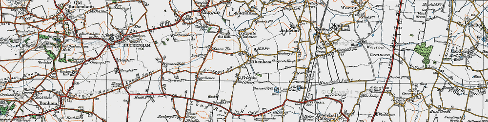 Old map of Tibenham in 1921