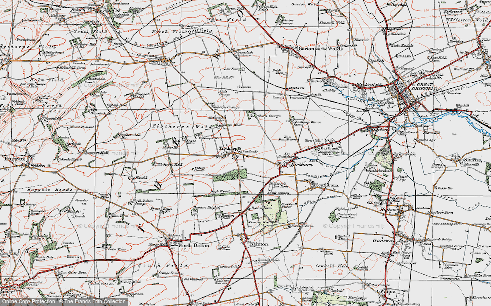 Old Map of Historic Map covering Tibthorpe Manor in 1924