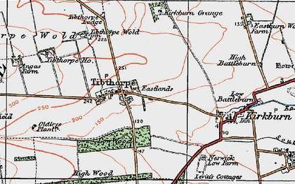 Old map of Tibthorpe Ho in 1924