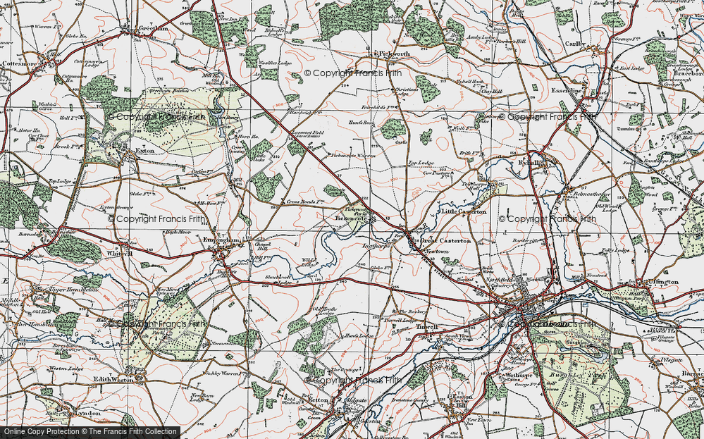 Old Map of Historic Map covering Tickencote Warren in 1922