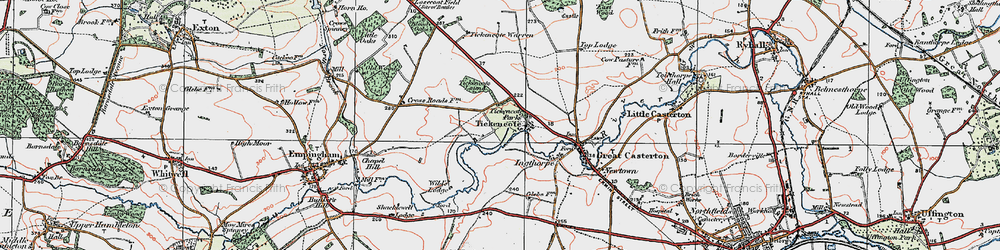 Old map of Tickencote in 1922