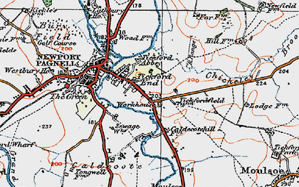 Old map of Tickford End in 1919
