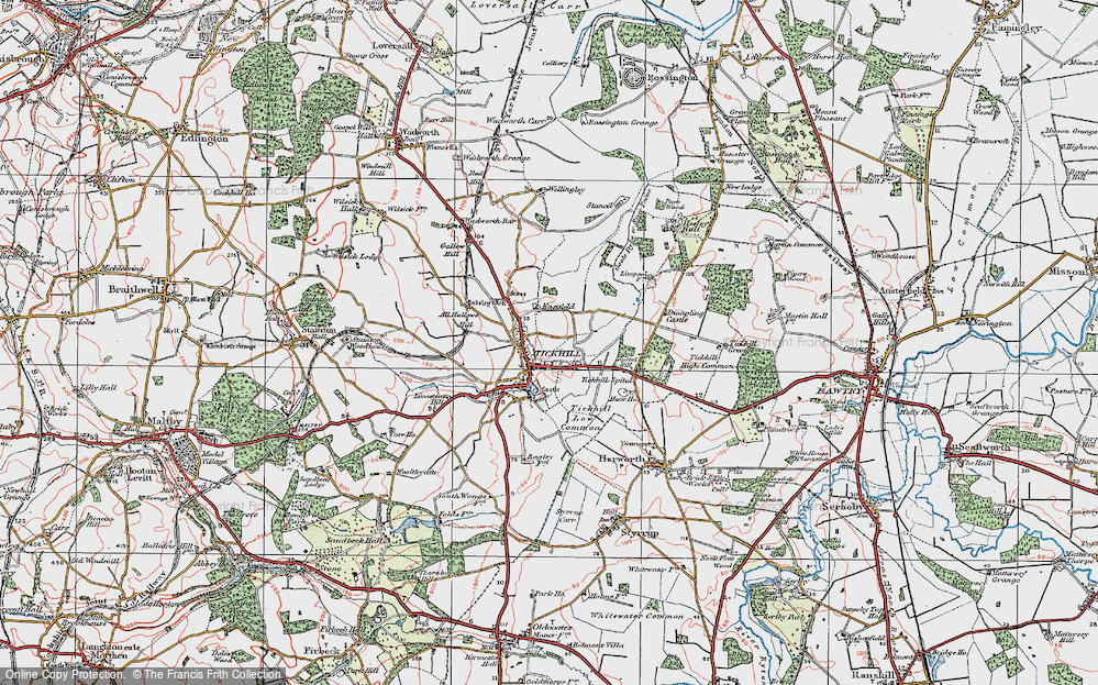 Old Map of Historic Map covering All Hallows Hill in 1923