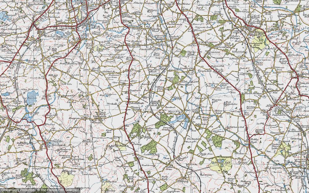 Old Map of Tidbury Green, 1921 in 1921