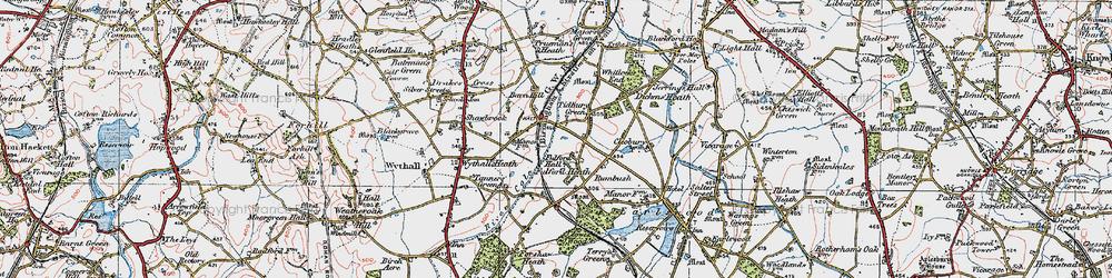 Old map of Tidbury Green in 1921