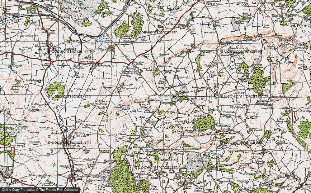 Old Map of Historic Map covering Tidcombe Down in 1919