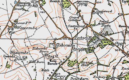 Old map of Tidcombe Down in 1919