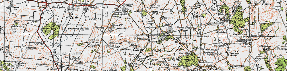 Old map of Tidcombe in 1919