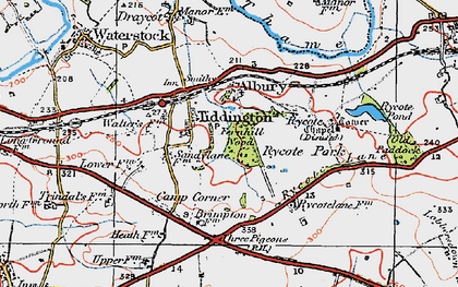 Old map of Tiddington in 1919