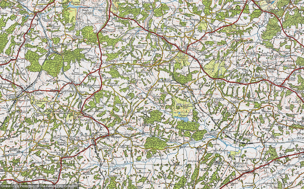 Old Map of Historic Map covering Tidebrook Manor in 1920