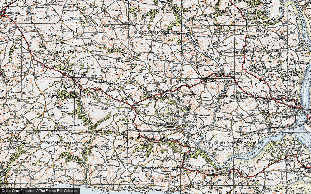 Old Map of Historic Map covering Lantallack Cross in 1919