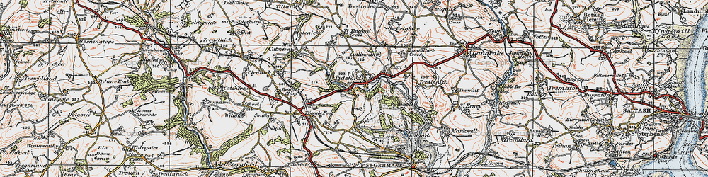 Old map of Lantallack Cross in 1919