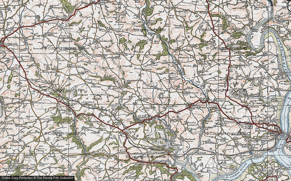 Old Map of Tideford Cross, 1919 in 1919
