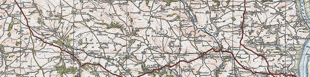 Old map of Tideford Cross in 1919