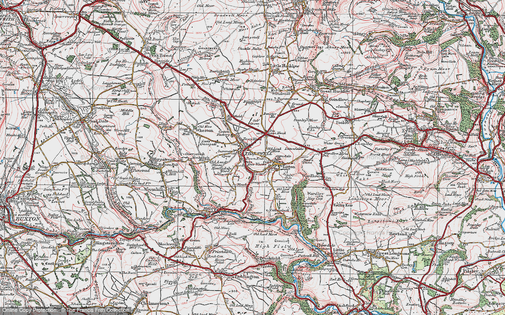 Old Map of Tideswell, 1923 in 1923