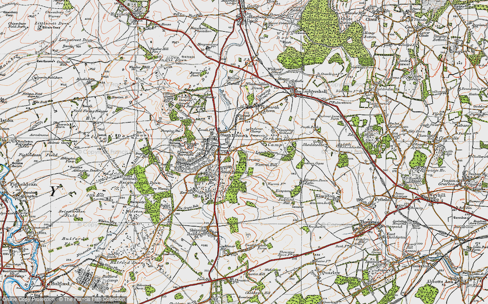 Old Map of Historic Map covering Ashdown Copse in 1919
