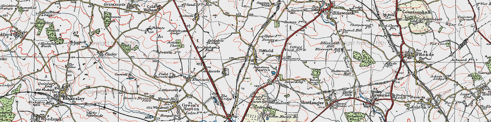 Old map of Tiffield in 1919
