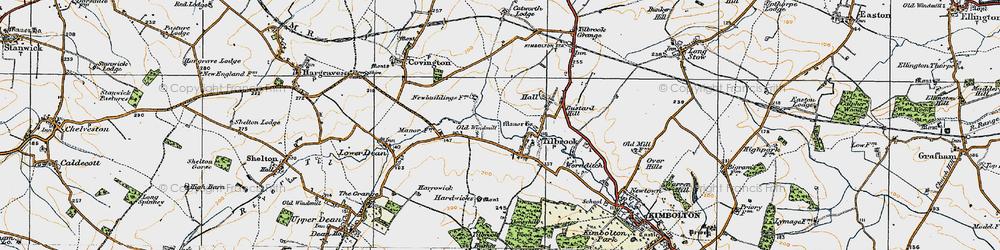 Old map of Tilbrook Bushes in 1919