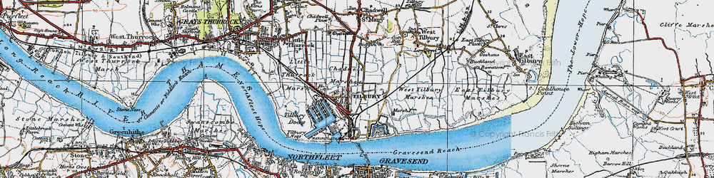 Old map of Tilbury in 1920