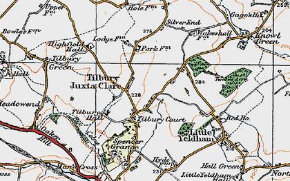 Old map of Tilbury Juxta Clare in 1921