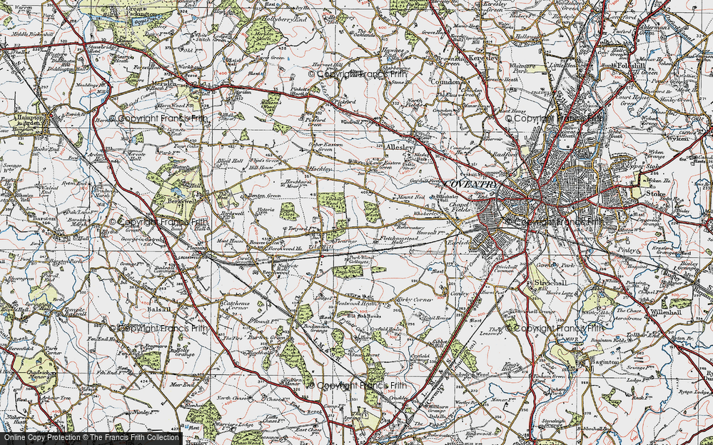 Old Map of Historic Map covering Tilehill Wood in 1921