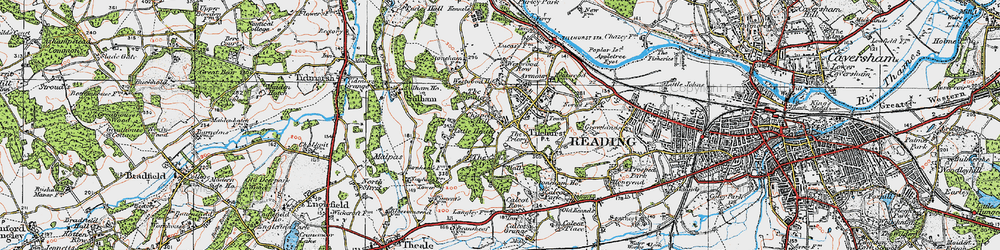 Old map of Tilehurst in 1919