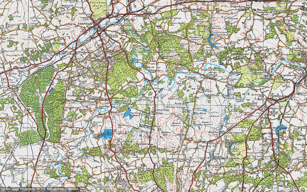 Old Map of Tilford Common, 1919 in 1919