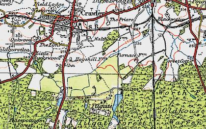 Old map of Tilgate in 1920