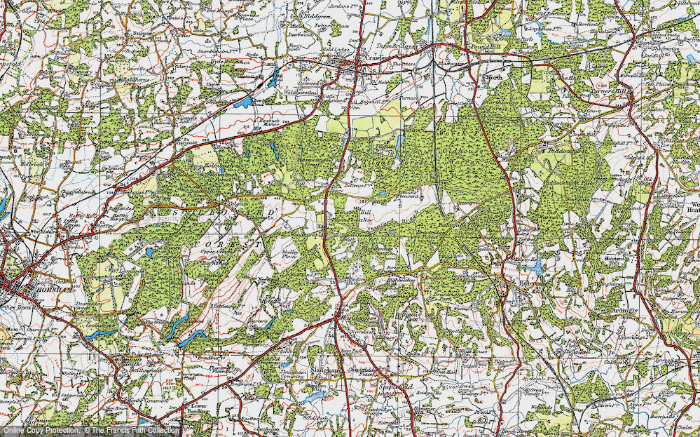Old Map of Historic Map covering Tilgate Forest in 1920